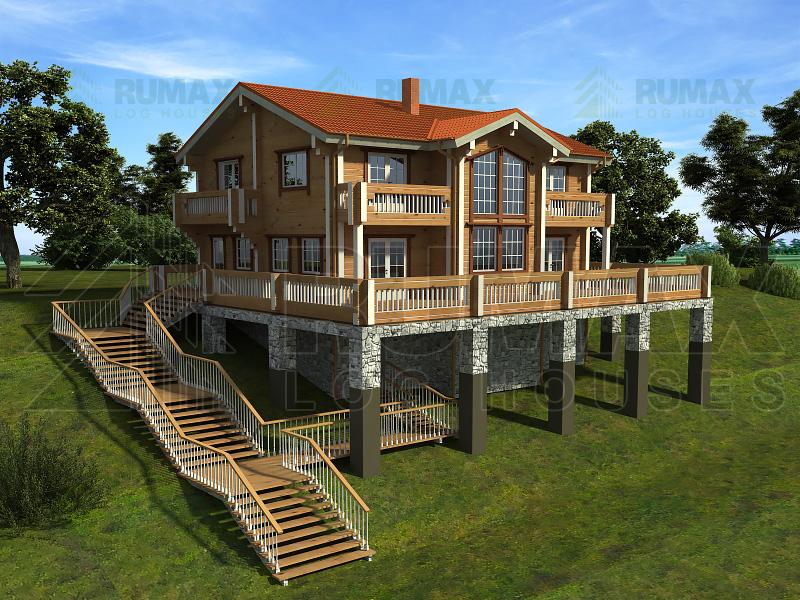 проекты домов на склоне фото